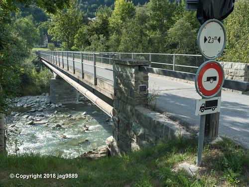 RHE152 Lorta Road Bridge over the Hinterrhein River, Andeer, Canton of Graubünden, Switzerland
