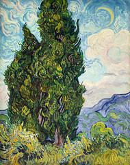 Cypresses (1889) by Vincent Van Gogh. Original from the MET Museum. Digitally enhanced by rawpixel.