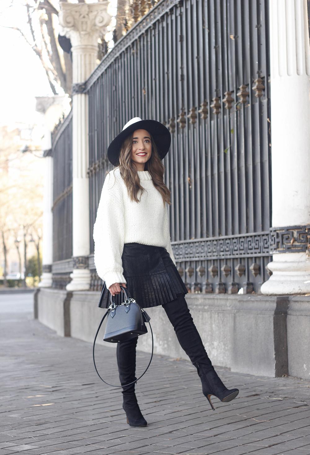 black pleated skirt  white sweater louis vuitton bag street style inspiration 20195