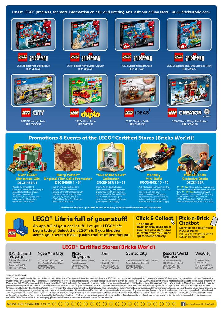 Bricksworld Singapore LEGO Certified Store calendar Back 1018 Dec