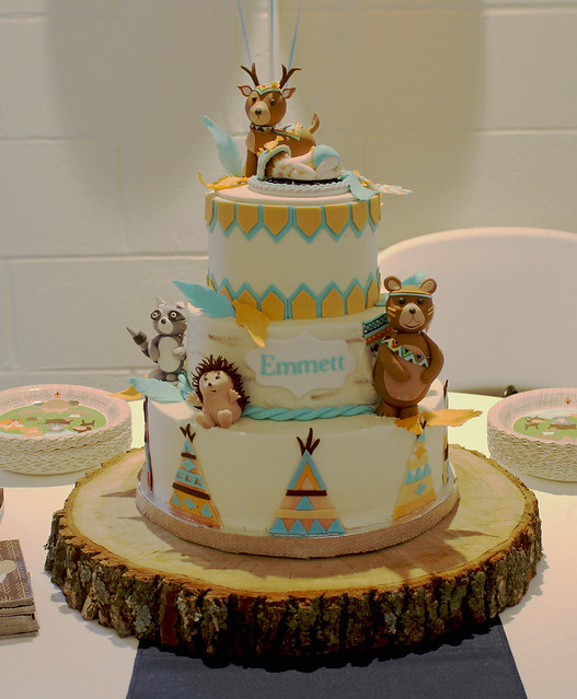 Woodland Animals Tribal Baby Shower Cake by Marie Truett