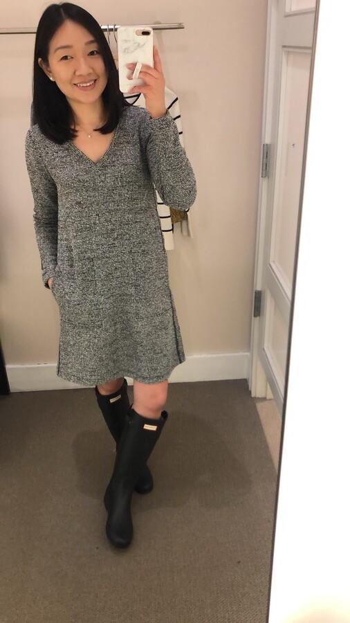 Lou & Grey Boucle Tweed Pocket Dress, size XXS regular