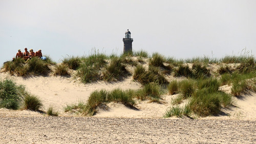 Skagen Fyr (Lighthouse) behind the sand dunes at Skagen, Denmark