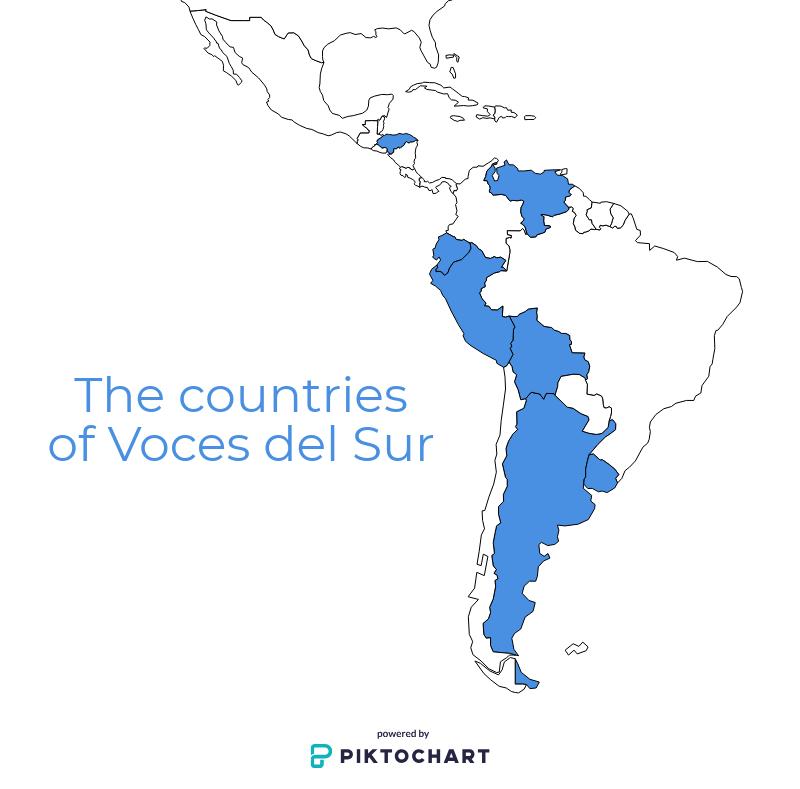 The countries of Voces del Sur