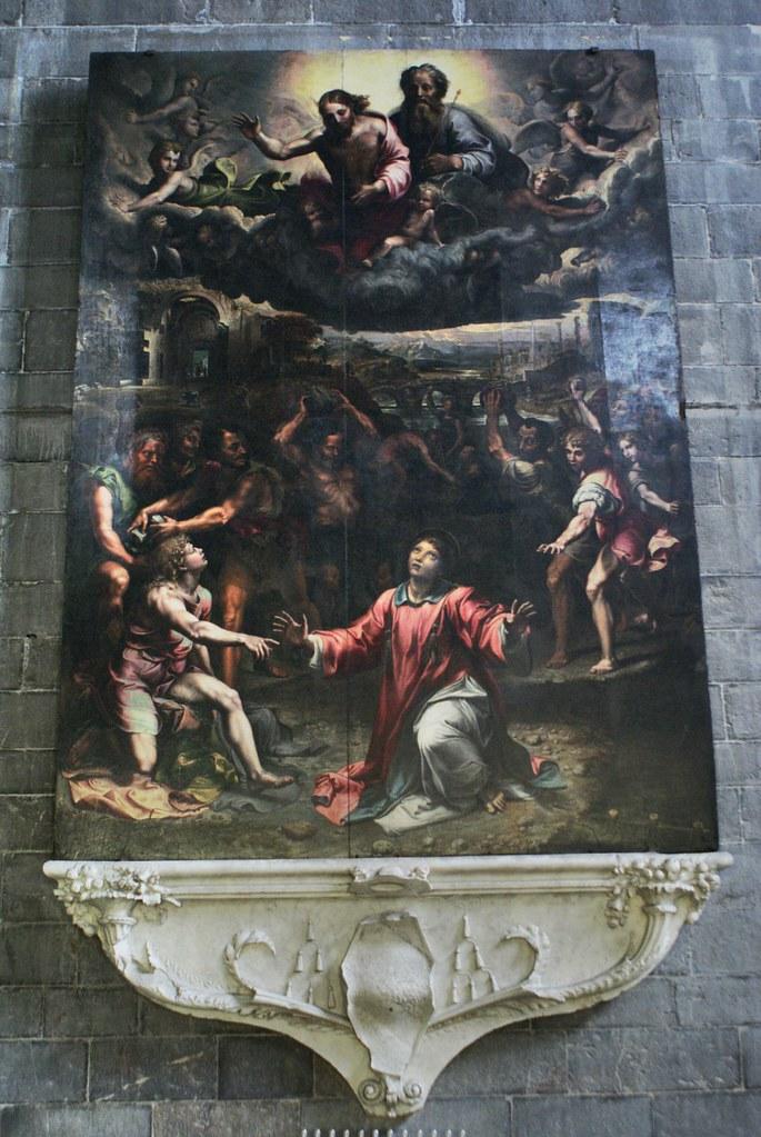 """Peinture de """"Martyr de Saint Etienne"""" (1524) parGiulio Romano dans l'église Santo Stefano à Gênes."""