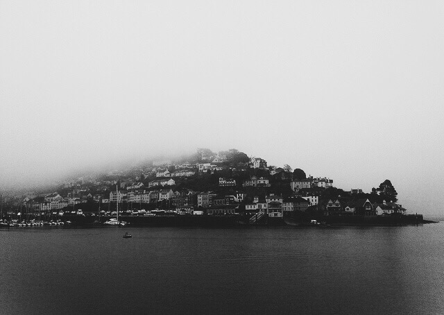 kingswear dartmouth river dart devon black and white photograph mist