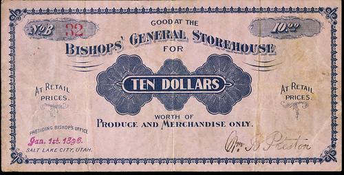 Mormon Bishops General Store $10 note