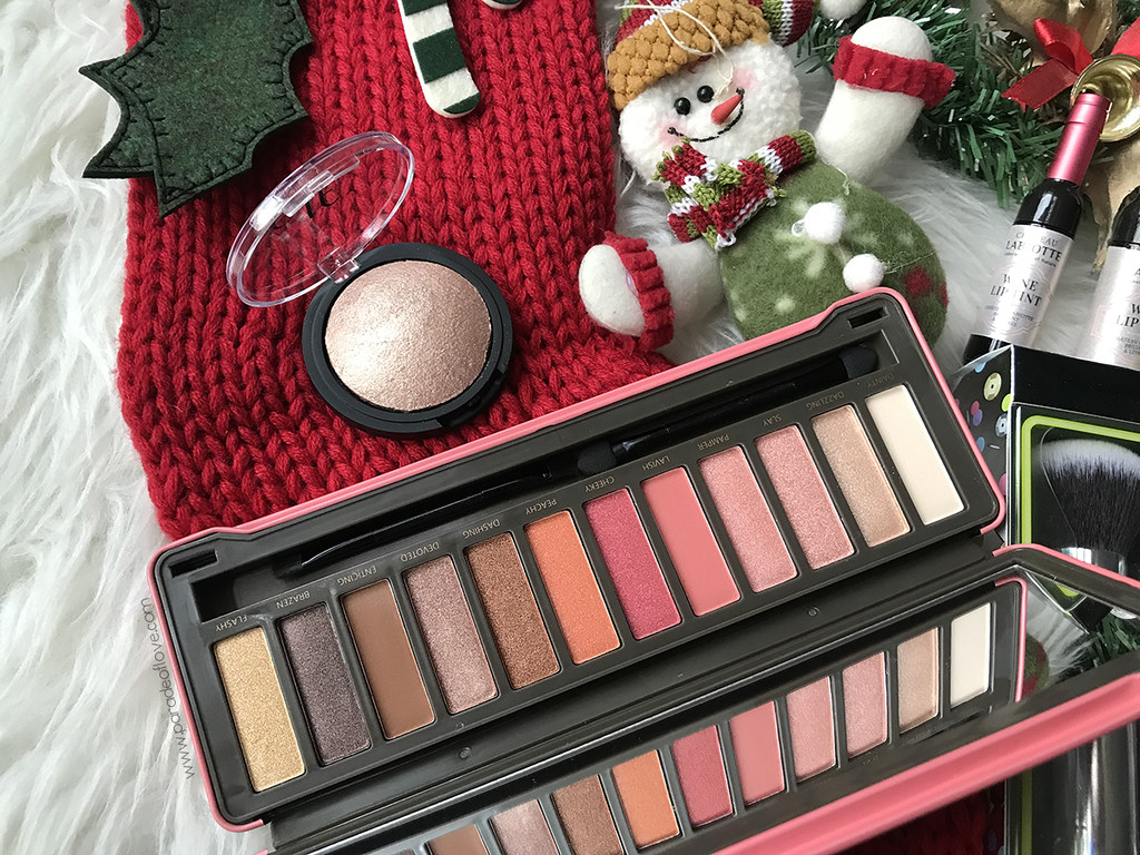 iHerb-Beauty-Holiday-Gift-Guide_BYS-Peach-Eyeshadow-Palette_ELF-Highlighter
