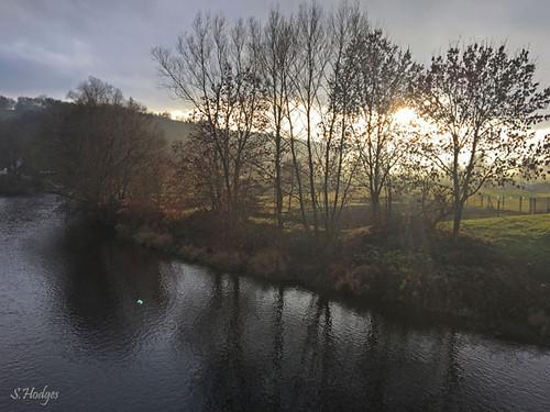 Sonnenuntergang an der Saale bei Weißen/Thüringen