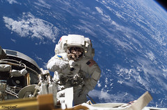 Astronaut Michael A. Lopez-Alegria pauses near the front of the International Space Station during an expedition on 8th Feb 2007. Original from NASA. Digitally enhanced by rawpixel.