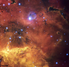 Hubble snaps sharp image of cosmic concoction of huge clouds of gas and dust are sprinkled with bright blue hot young stars. July 13th, 2010. Original from NASA . Digitally enhanced by rawpixel.