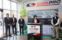 State Representative Gale Mastrofrancesco addresses the crowd at Southington's SignPro during a business tour and announcement that the facility is 100% solar powered.