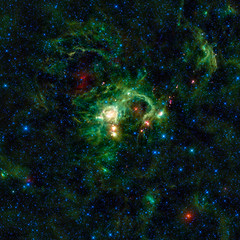 In the Perseus spiral arm of the Milky Way galaxy, opposite the galactic center, lies the nebula SH 2-235. Original from NASA. Digitally enhanced by rawpixel.