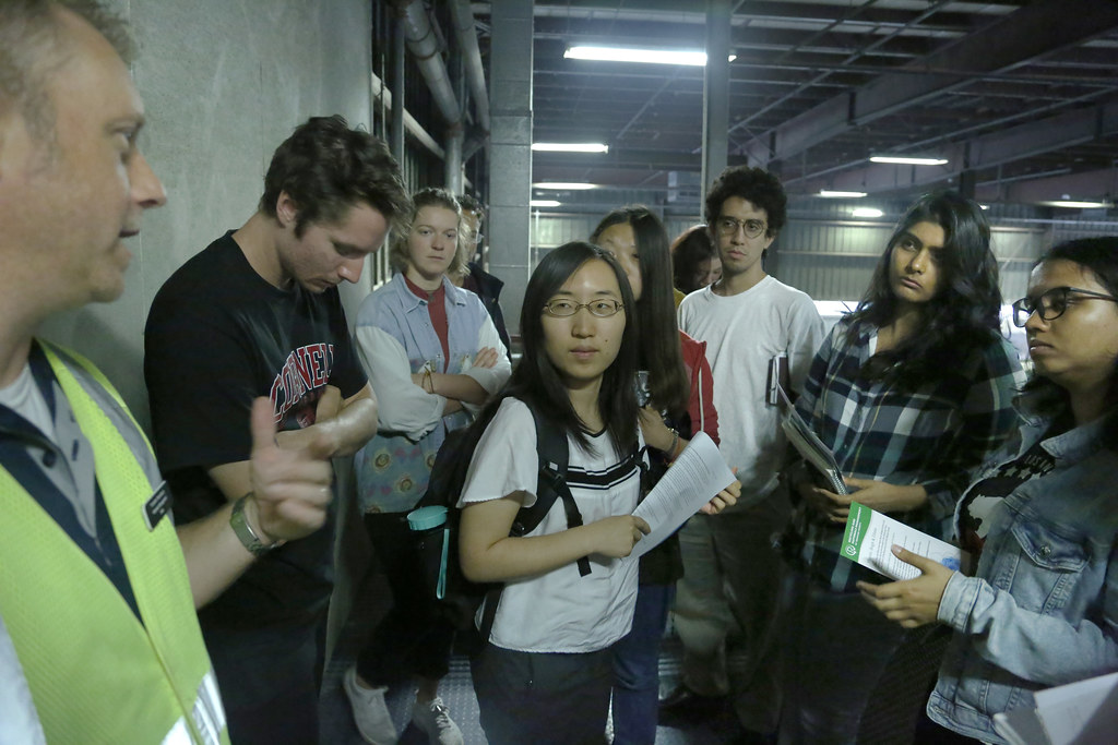 CRP students visit the Tompkins County Recycling and Waste Management facility in Ithaca, led by CRP Professor Mildred Warner with guest lecturer Federico Parra, for the fall 2018 class CRP 4120-6120 Devolution, Privatization, and the New Public Management.  photo / William Staffeld