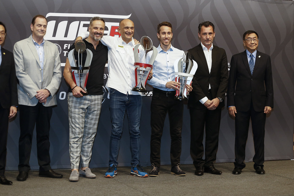 MULLER Yvan, (fra), Hyundai i30 N TCR team Yvan Muller Racing, portrait TARQUINI Gabriele, (ita), Hyundai i30 N TCR team BRC Racing, portrait GUERRIERI Esteban, (arg), Honda Civic TCR team ALL-INKL.COM Munnich Motorsport, portrait RIBEIRO François, WTCR Eurosport Motorsport Director, portrait prize giving ceremony  during the 2018 FIA WTCR World Touring Car cup of Macau, Circuito da Guia, from november  15 to 18 - Photo Francois Flamand / DPPI
