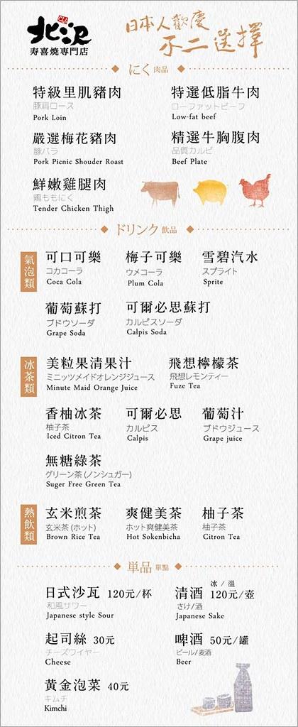 北澤壽喜燒Menu 菜單 價格02