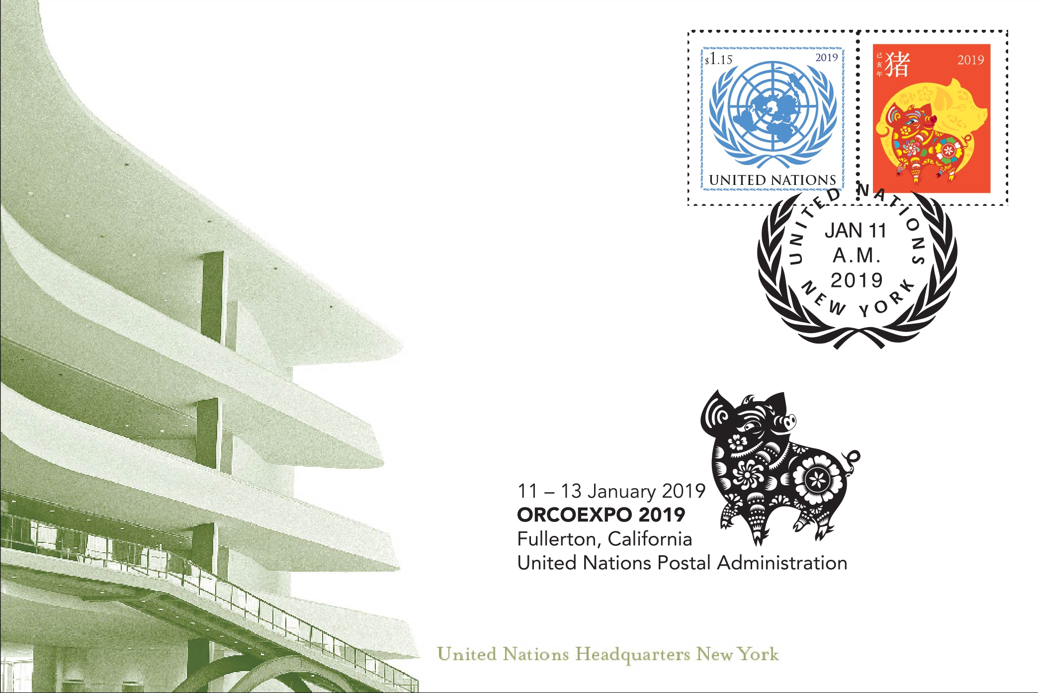 United Nations (New York) - Year of the Pig (January 11, 2019) show card
