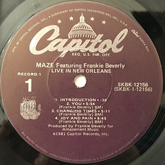 MAZE featuring FRANKIE BEVERLIE:LIVE IN NEW ORLEANS(LABEL SIDE-A)