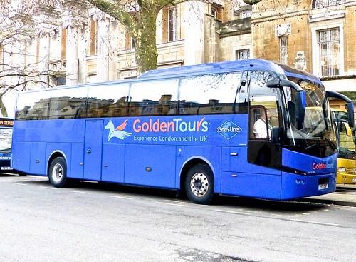 BV17 CJF 'Golden Tours' No  18, Victoria  London. Volvo B11R / Jonkheere SHV on Dennis Basford's railsroadsrunways.blogspot.co.uk'