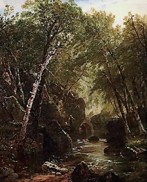 IMG_5160F John Frederick Kensett  1816-1872  Pêcheur de truites Trout fisherman 1852 Paysagiste américain. Ecole luministe (Hudson river school) American landscaper. Luminist School (Hudson river school)