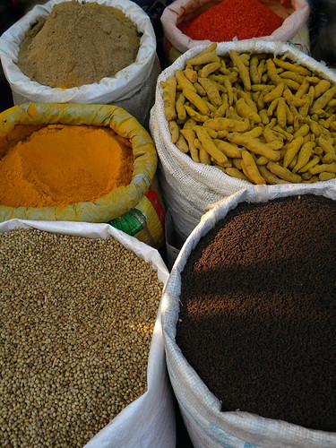 Bags of spices Fatehpur Sikri, a town outside of Agra in India