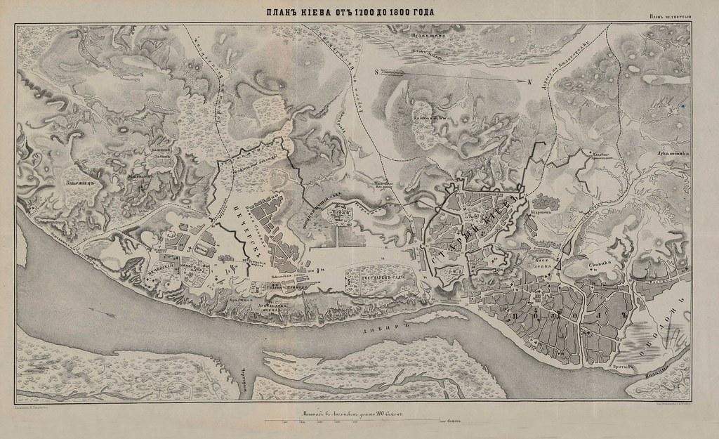 План Киева от 1700 до 1800 года