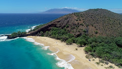 Amazing aerial of Makena Big Beach, Maui Hawaii