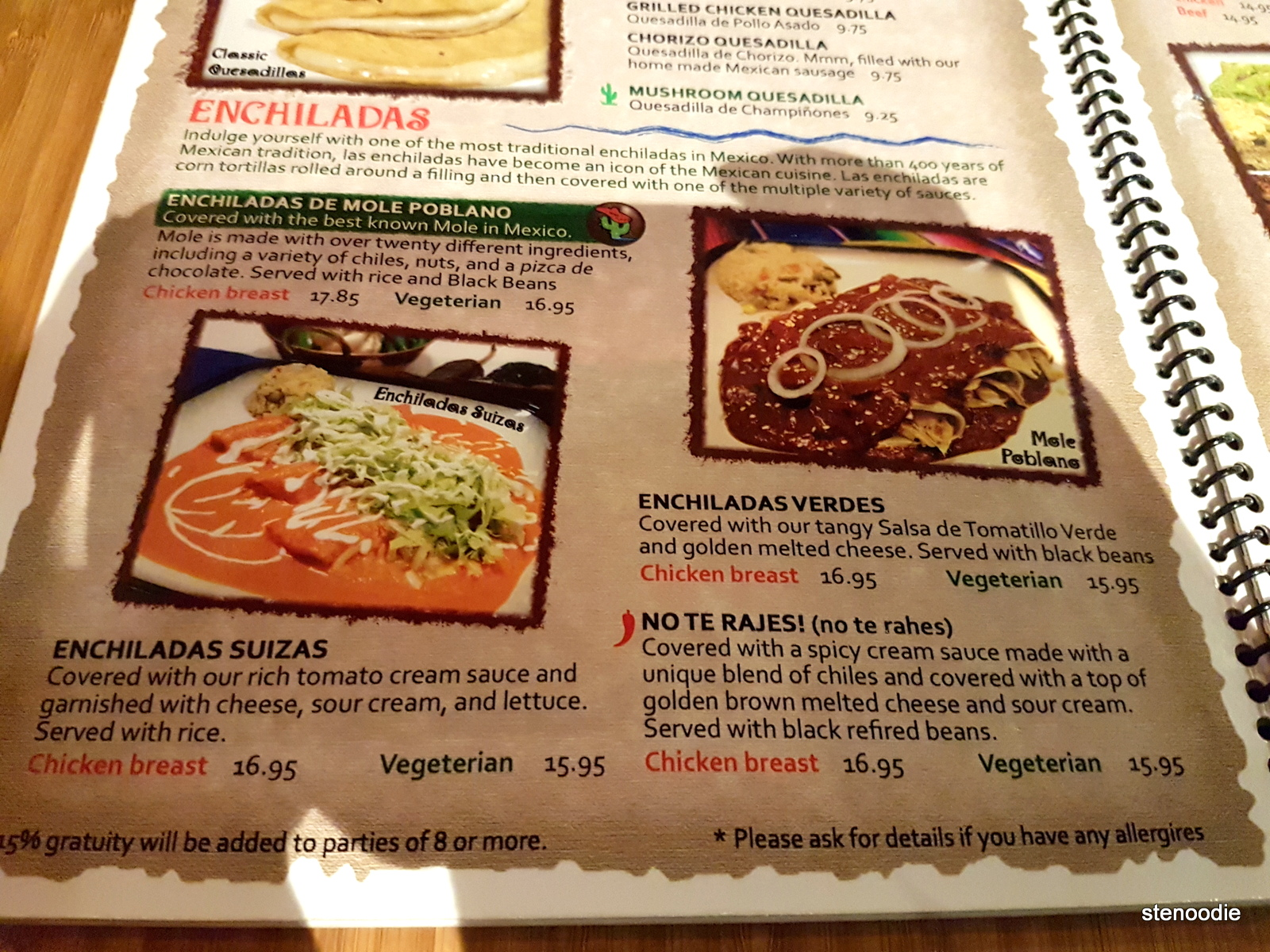 La Taquizza enchiladas menu