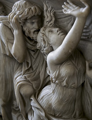 Creon and his dying daughter Creus. Detail of front panel of sarcophagus. Berlin, State Museums.