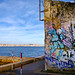Graffiti with Lisbon in the background