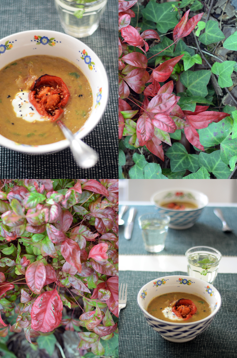 Sopa de Lentilhas e tomate assado