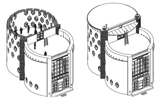 Дом Мельникова. Аксонометрия (проект реконструкции музея, 2010-е гг.)