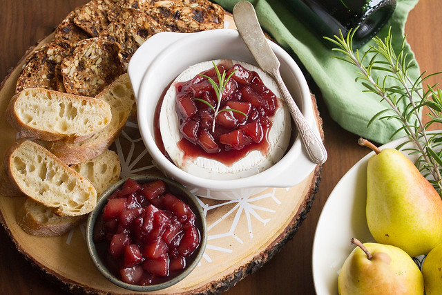 Baked Brie with Wine-Poached Pear Compote