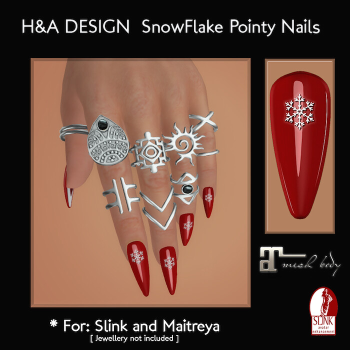[H&A Designs] - SnowFlake Bento Pointy Nails - TeleportHub.com Live!