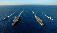Ships with the Ronald Reagan Carrier Strike Group and John C. Stennis Carrier Strike Group transit the Philippine Sea during dual carrier operations, Nov. 16 (U.S. Navy/MC2 Kaila V. Peters)