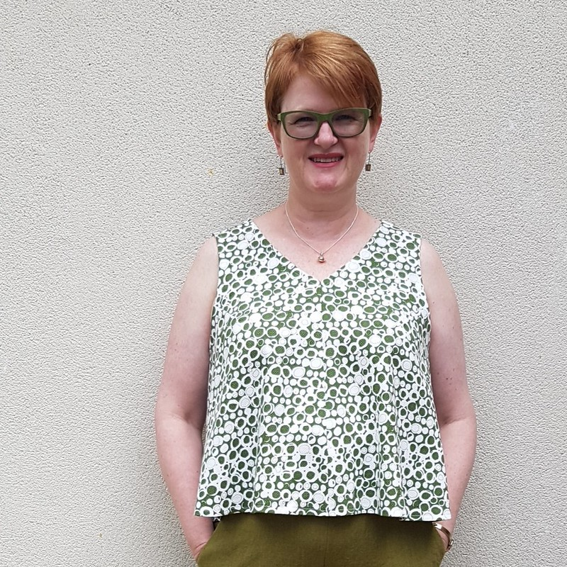 Style Arc Vicki top in cotton pique remnant from The Cloth Shop