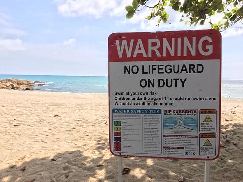 サムイ島 11月18日 島内のビーチにライフガードは年中いません
