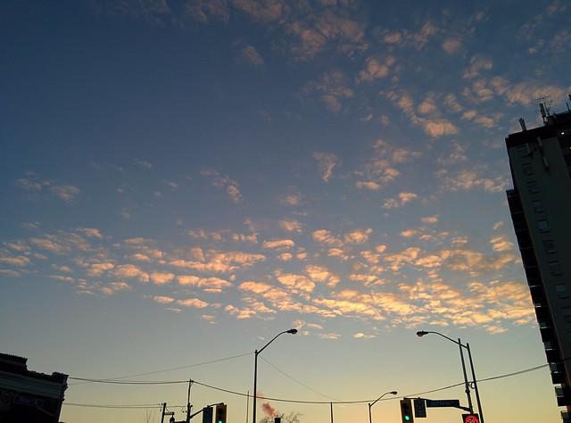 Looking west, Bloor and Dufferin #toronto #evening #sky #glow #bloorstreetwest #dufferinstreet #bloordale #bloorcourt