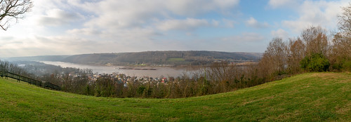 panorama ohioriver waterfront valley mountains forest trees clouds water scenic pleasant ripley ohio unitedstates us view hilltop overlook browncounty buildings structures grass slope uniontownship