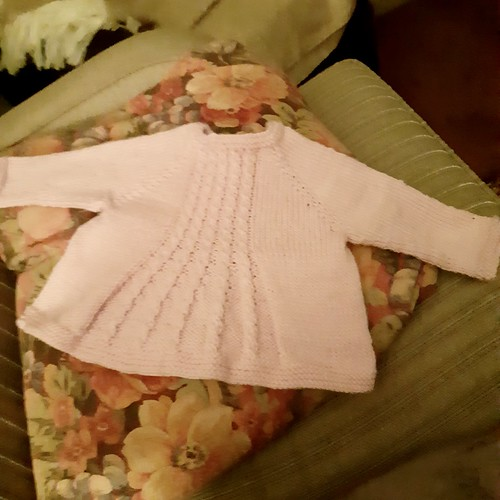 In addition to her Girl Bunny, Carols has fInished a Bobby's Girl Cardigan by Alma with another one almost done!