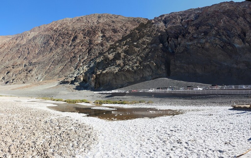 View of the bad water itself, with the Sea Level sign on the hillside to the right, from Badwater, Death Valley