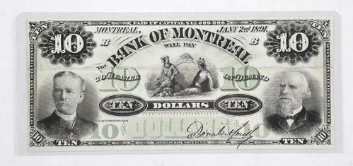 1891 Bank of Montreal $10 Proof Specimen
