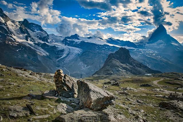 Rottenboden, the Matterhorn and the Klein Matterhorn.Canton of Valais ;Switzerland.  Izakigur 20.07.10, 19:21:17 No. 1165.