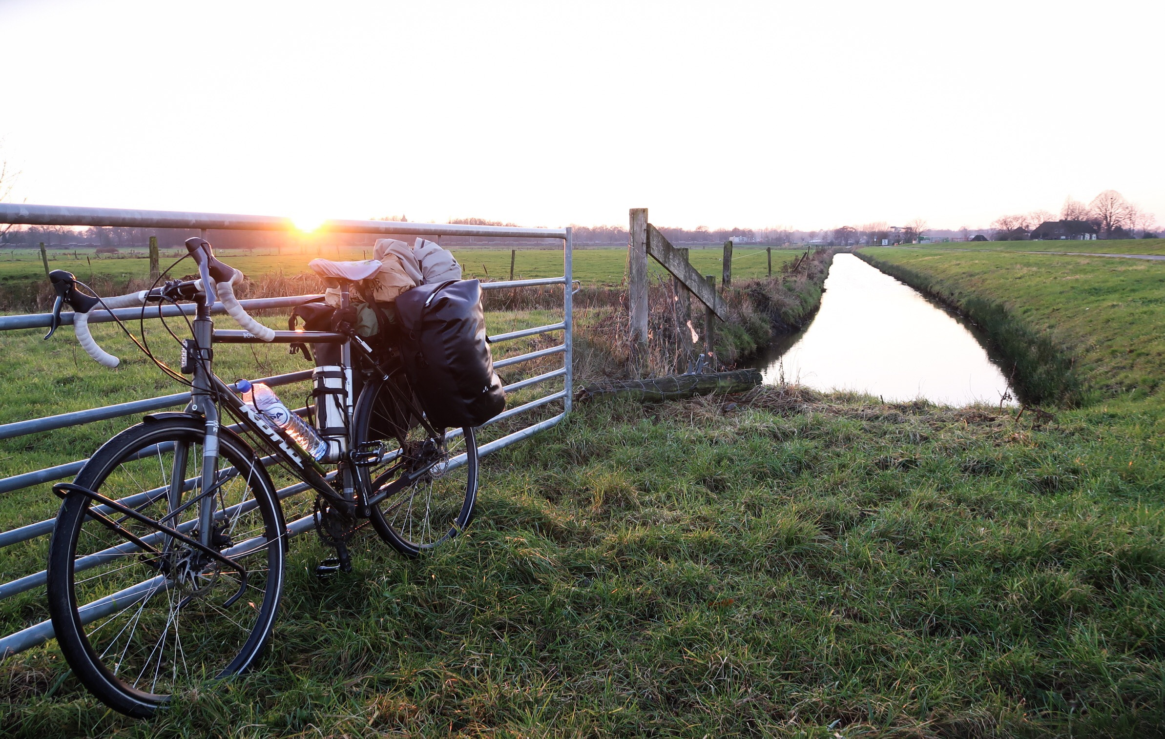 Cycling along farmer fields in Flevoland NL