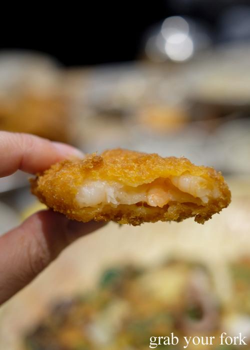 Inside the shrimp potato korokke at Myeong Dong Korean Restaurant in North Strathfield