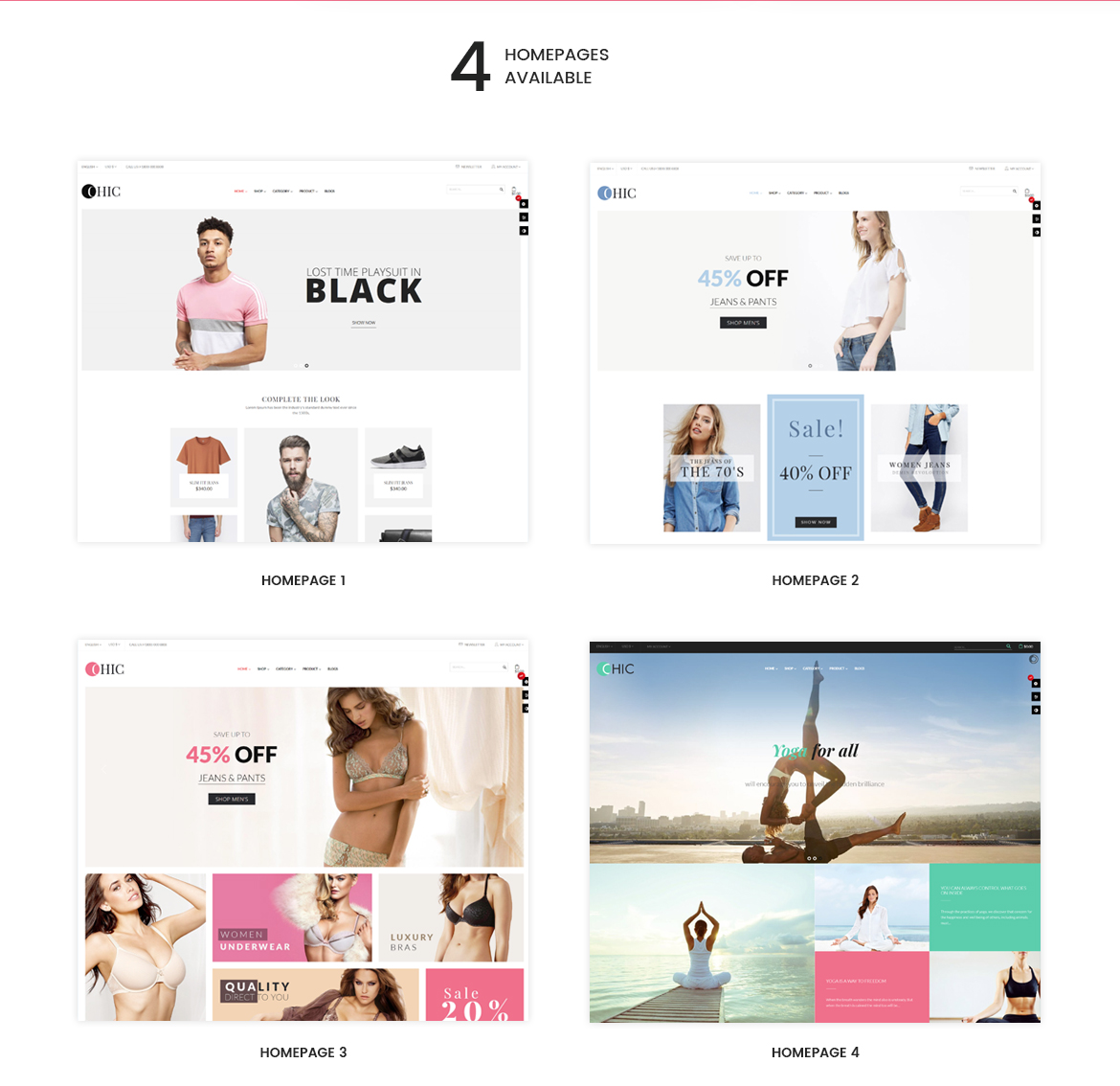 4+ premade homepages for Women Fashion and Lingerie Store
