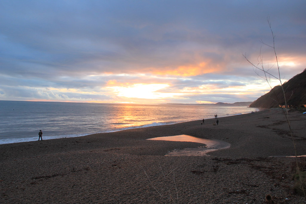 Sunset on Branscombe Beach