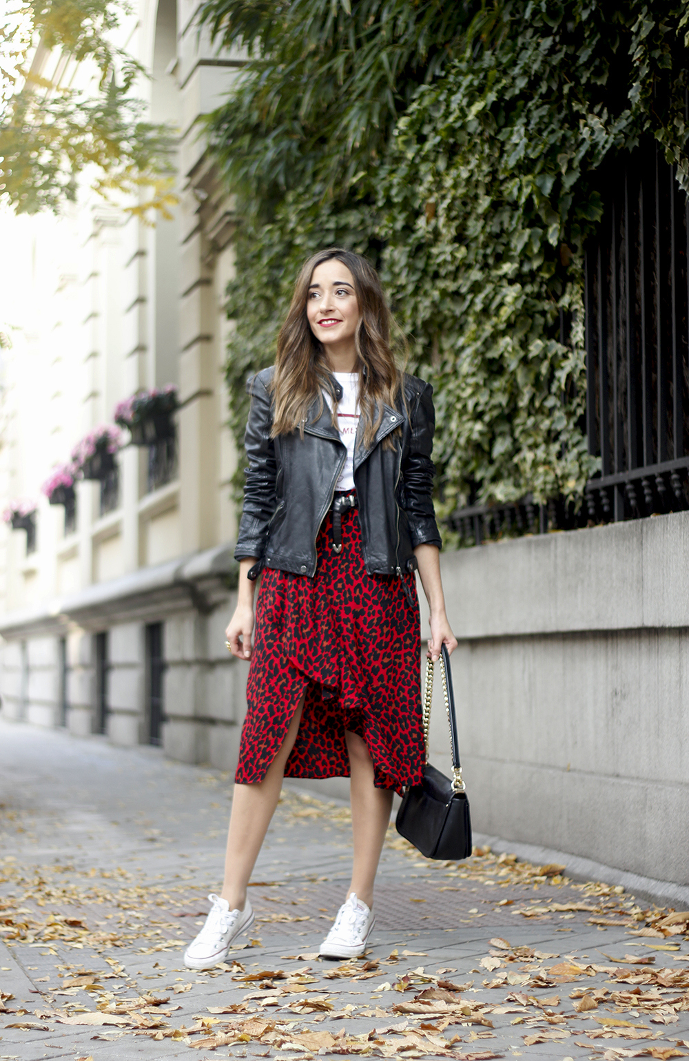 midi skirt red leopard print trend black biker jacket converse street style fall outfit 20186054