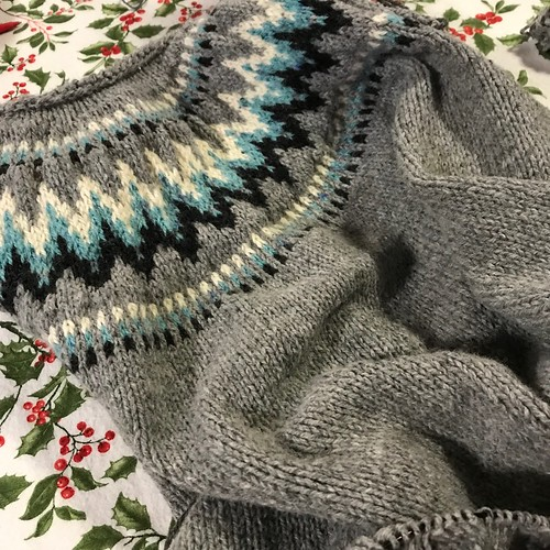 I took this progress shot of Bev's Throwback by Andrea Mowry knit using Navia Sock, a worsted weight 3-ply wool and nylon blend! She is almost finished!
