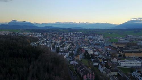 Hochdorf and panoramic view on Alps Rigi Pilatus Switzerland